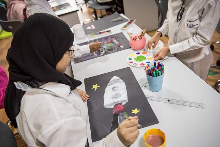 NGS Students Celebrate Hazzaa Al Mansoori The First Emirati Astronaut