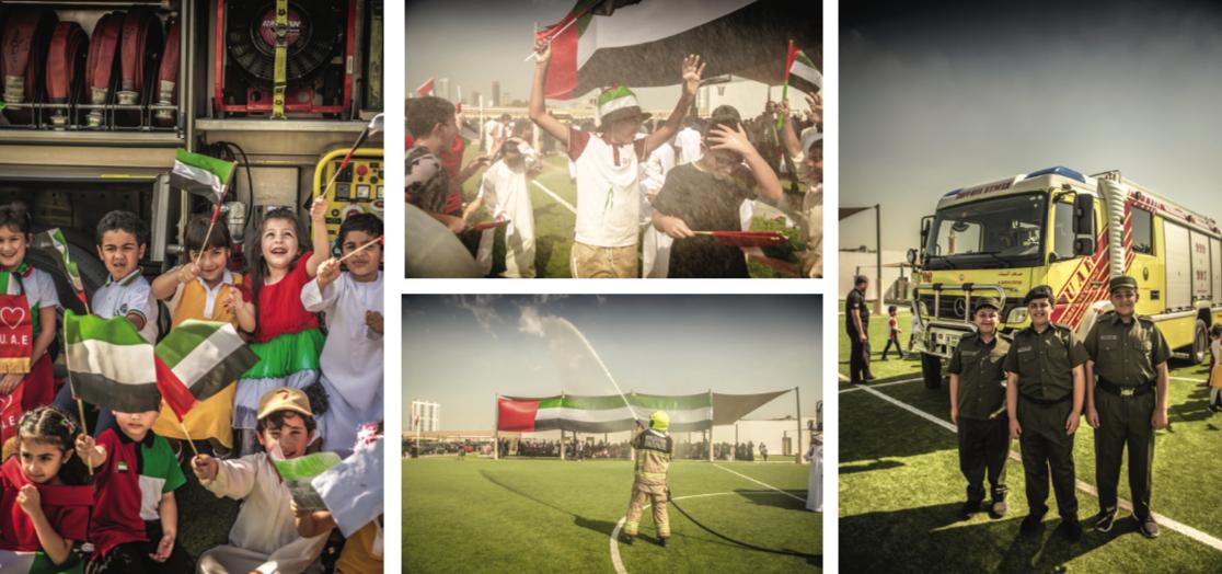 طلاب ان جي اس يحتفلون بيوم العلم والدفاع المدني ينضمون إلى الاحتفالات