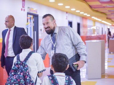 Teachers Welcome Students on the first day of School